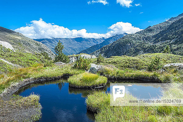 France  Pyrenees Ariegeoises Regional Nature Park  pond on the Bassies lakes hiking trail  GR 10