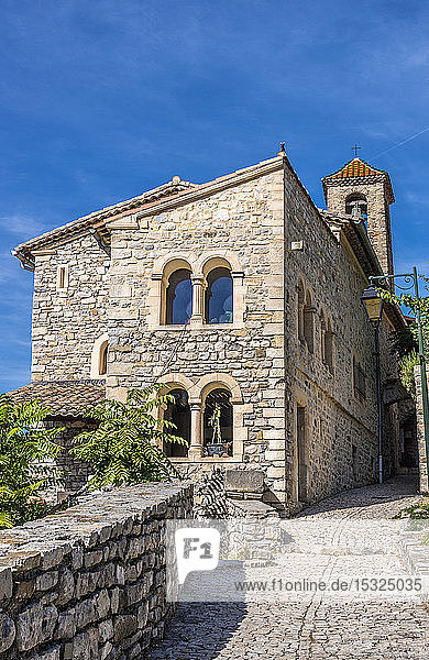 France  Drome  The Provencal Baronnies Regional Natural Park  Saint Jalle village  old castle and chapel
