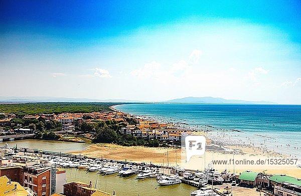 Castiglione della Pescaia  Liguria  Italy  August 20  2018: Panoramic view of the harbor and the beach