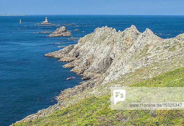 France  Brittany  Pointe du Raz  Phare de la Vieille (lighthouse) and beacon of la Plate