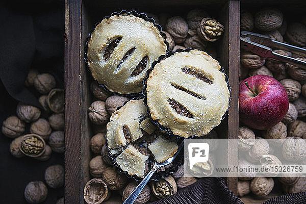 Vegan walnut and apple tartlets
