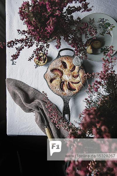 Plum cake in the pan