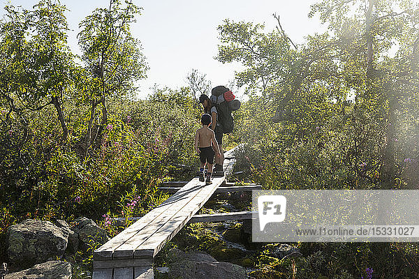 Mother and son hiking on wooden bridge in Fulufjallet National Park  Sweden Mother and son hiking on wooden bridge in Fulufjallet National Park, Sweden