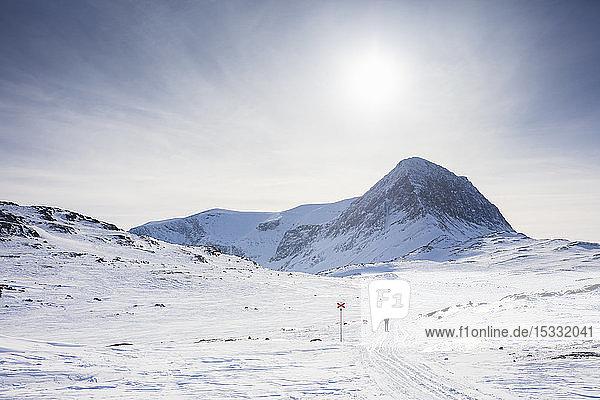 Kungsleden ski track by mountain in Lapland  Sweden
