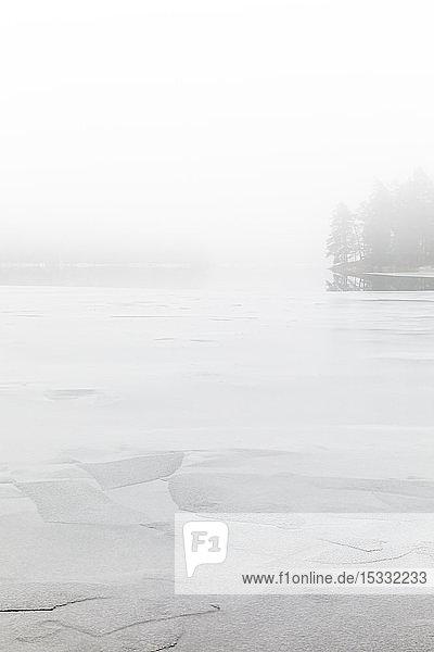 Nebel auf dem zugefrorenen See Stora Skiren in Finspang  Schweden