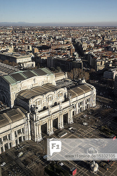 Italy  Lombardy  Milan  Central Train Station from Enzo Jannacci Belvedere in Pirelli skyscraper