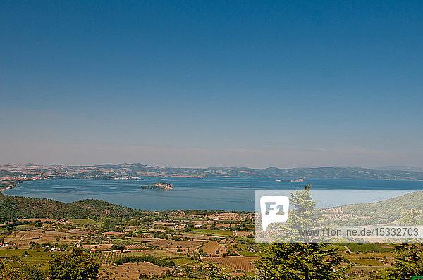 Europe  Italy  Lazio  Lake Bolsena  view from Montefiascone