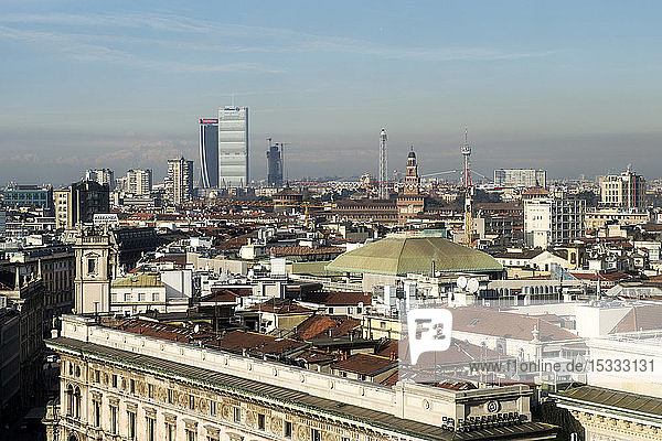 Italy  Lombardy  Milan  cityscape from Duomo rooftop