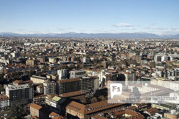 Italy  Lombardy  Milan  cityscape from Belvedere Enzo Jannacci in the Pirelli skyscraper