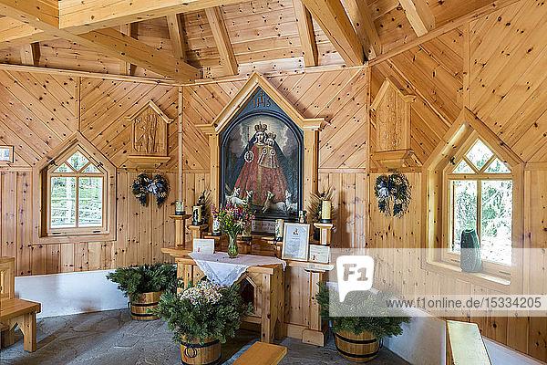 Austria  UNESCO's Biosphere Reserve Salzburg's Lungau Riedingtal Nature Park  Hubertuskapelle (wooden chapel)