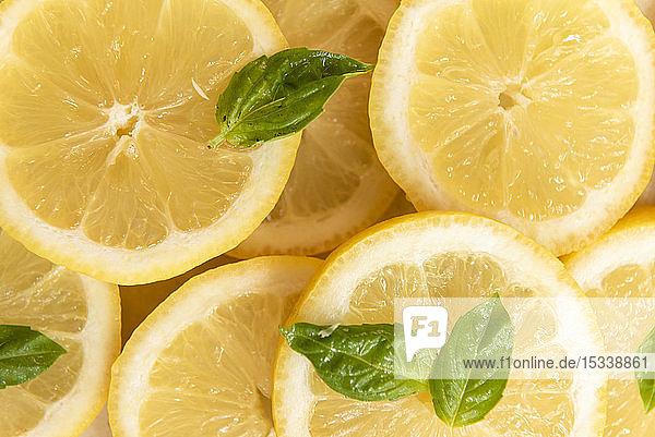 Sliced lemon with basil