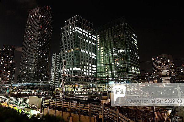 Tokyo financial district at night