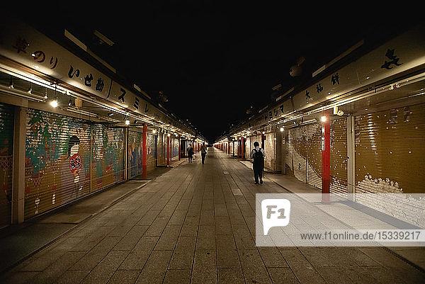 Closed shops at night