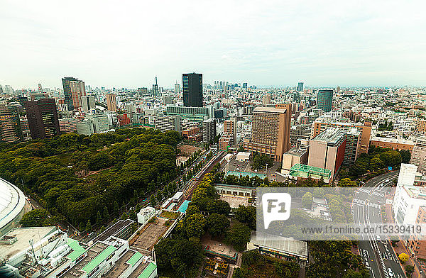 Elevated view of modern cityscape
