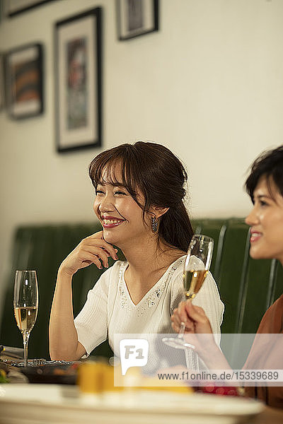 Japanese women happily dining together