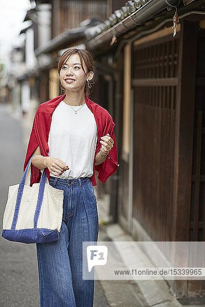 Young Japanese woman visiting Nara