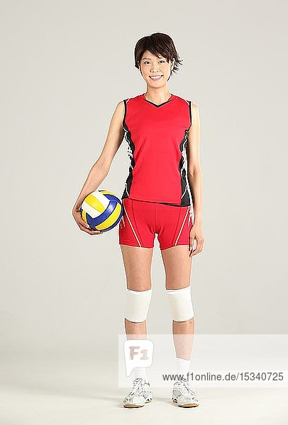 Japanese volley player in the studio