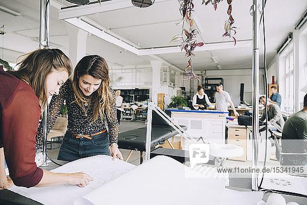 Unternehmerinnen diskutieren über Papier am Tisch im Kreativbüro