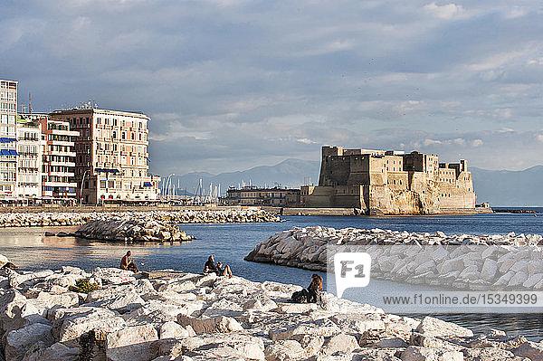 Castel del' Ovo ( Egg Castle),  Mergellina,  Naples,  Campania,  Italy,  Europe