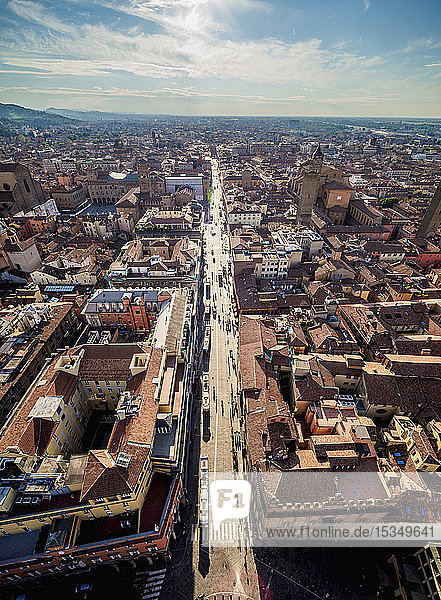 Via Rizzoli  elevated view from the Asinelli Tower  Bologna  Emilia-Romagna  Italy  Europe
