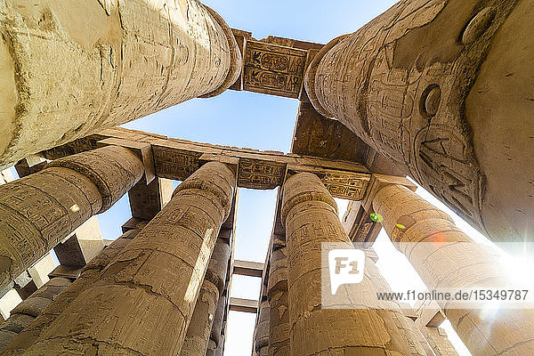 Pillars decorated with Hieroglyphics in the Great Hypostyle Hall at Karnak Temple  Thebes  UNESCO World Heritage Site  Egypt  North Africa  Africa