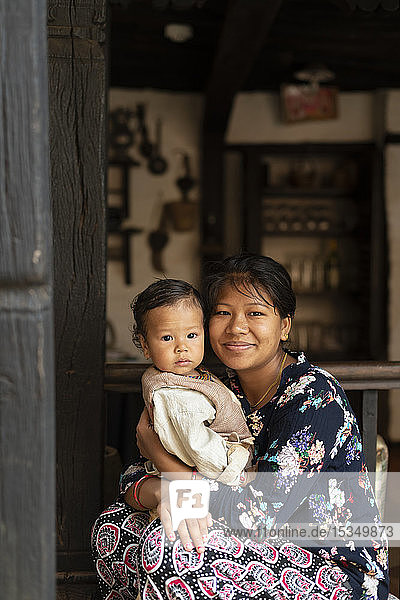 A Nepali woman with her baby  Nuwacot  Nepal  Asia