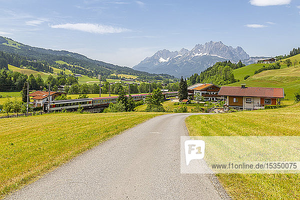 View of trainline and Ellmauer Halt Mountain peak near St. Johann  Austrian Alps  Tyrol  Austria  Europe