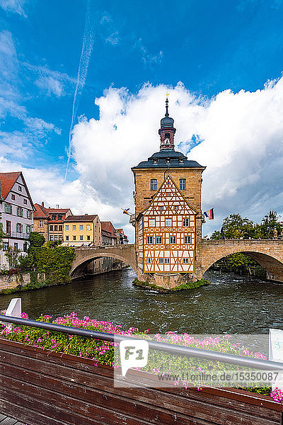 Altes Rathaus (old townhall) at the historic center of Bamberg  UNESCO World Heritage Site  Bavaria  Germany  Europe