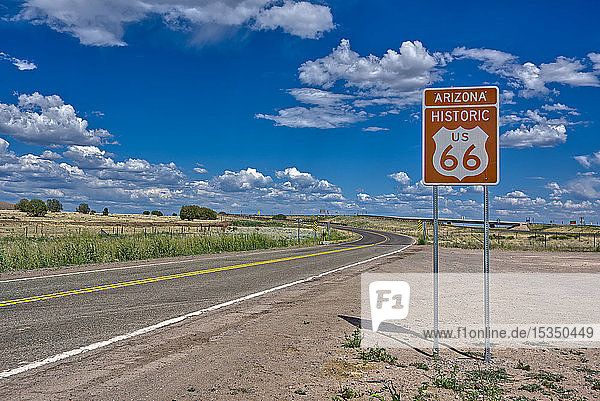 A road sign marking the Historic Route 66 just west of Ash Fork  Arizona  United States of America  North America