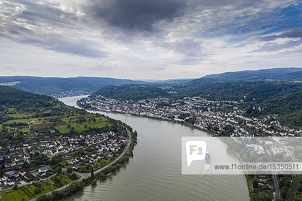 View from the Gedeonseck down to the Rhine at Boppard  UNESCO World Heritage Site  Middle Rhine valley  Rhineland-Palatinate  Germany  Europe