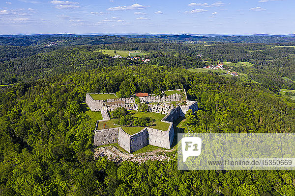 Aerial by drone of Fortress Rothenberg  Franconia  Bavaria  Germany  Europe