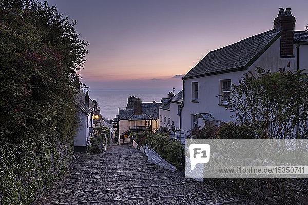 Cobbled village lane at dawn  Clovelly  Devon  England  United Kingdom  Europe