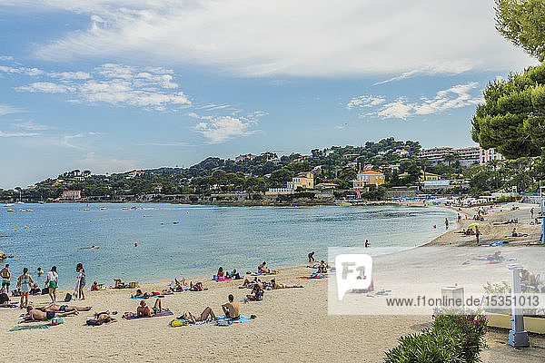 The beach at Beaulieu sur Mer  Alpes Maritimes  Provence Alpes Cote d'Azur  French Riviera  France  Mediterranean  Europe