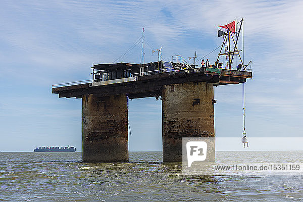 View of Roughs Tower  the former defense plattform  a Maunsell Sea Fort  now the Principality of Sealand  North Sea  Europe