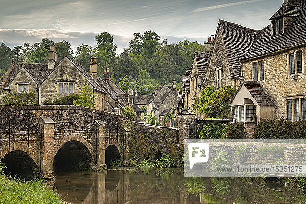 The picturesque Cotswolds village of Castle Combe  Wiltshire  England  United Kingdom  Europe
