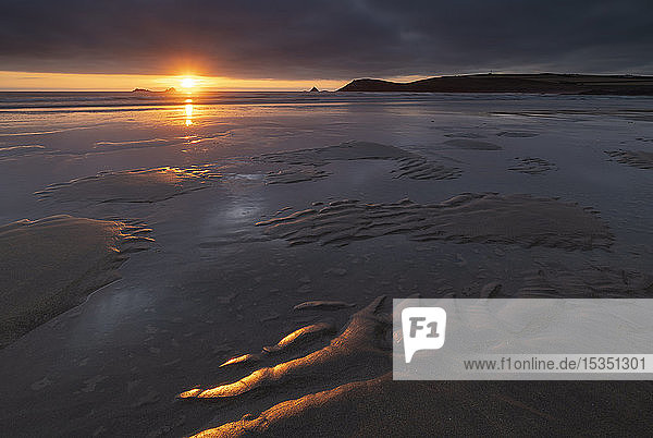 Beautiful sunset light over the beach at Constantine Bay in North Cornwall  England  United Kingdom  Europe