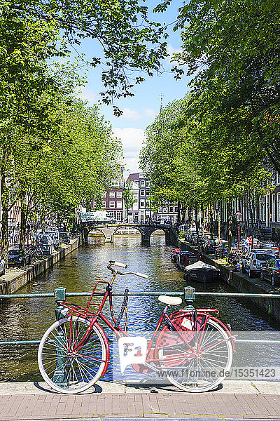 Bicycle on a bridge  Leidsegracht canal  Amsterdam  North Holland  The Netherlands  Europe