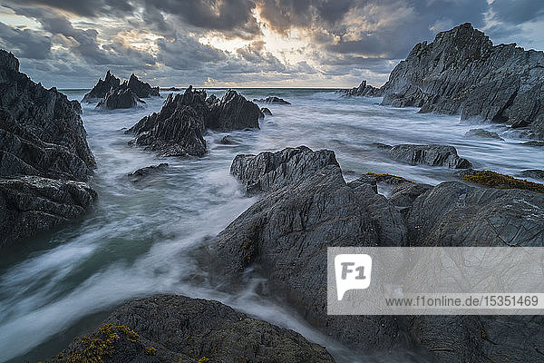 Stormy sunset over the dramatic North Devon coast  Devon  England  United Kingdom  Europe