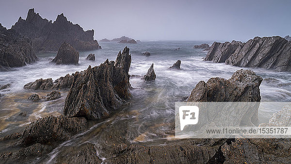 Jagged ledges on the dramatic north Devon coast  Devon  England  United Kingdom  Europe