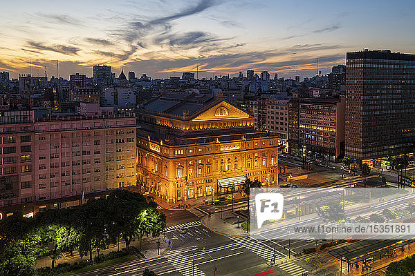 The Teatro Colon at sunset on 9 de Julio Avenue at night  Buenos Aires  Argentina  South America