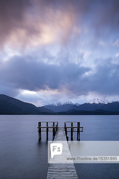 Te Anau jetty with lake and mountain  Southland  South Island  New Zealand  Pacific