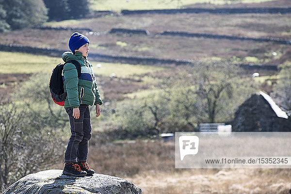 Boy exploring national park  Llanaber  Gwynedd  United Kingdom