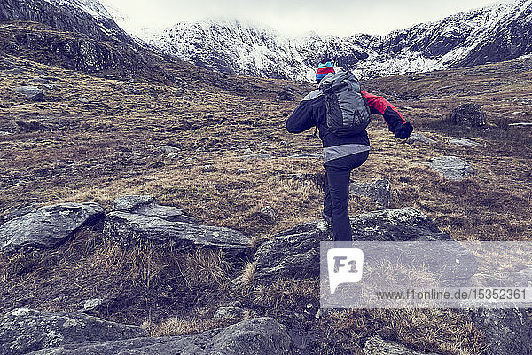 Male hiker hiking up rugged landscape with snow capped mountains  rear view  Llanberis  Gwynedd  Wales