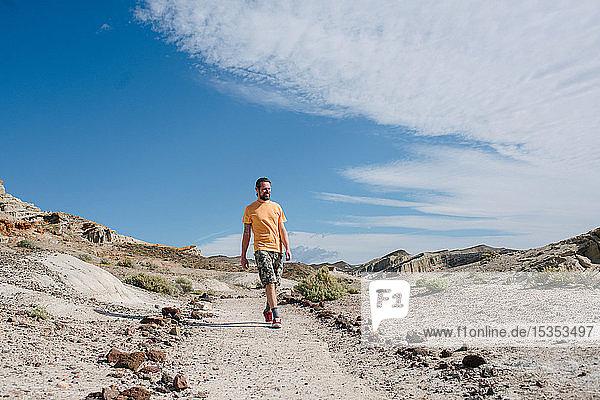 Mann erkundet Naturschutzgebiet  Red Rock Canyon  Cantil  Kalifornien  Vereinigte Staaten