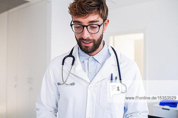 Male doctor at hospital reception