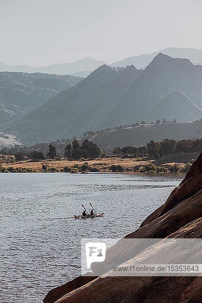 Friends kayaking in lake  Kaweah  California  United States