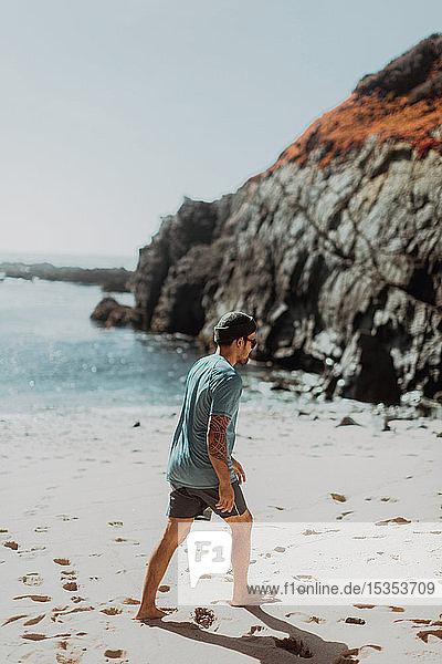 Man walking on beach  Big Sur  California  United States