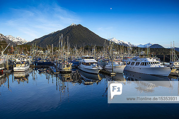 Sitka Harbour with boats and their reflection and Mt. Verstovia; Sitka  Alaska  United States of America