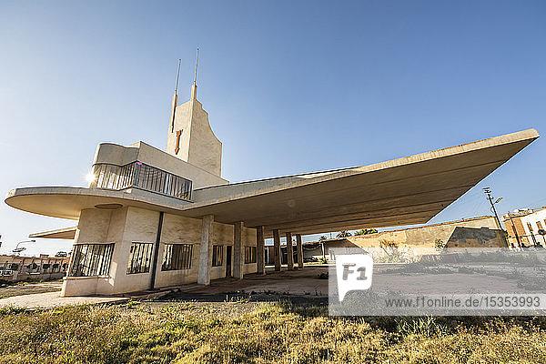 Fiat Tagliero Building  a Futurist-style service station  designed by the Italian engineer Giuseppe Pettazzi in 1938; Asmara  Central Region  Eritrea