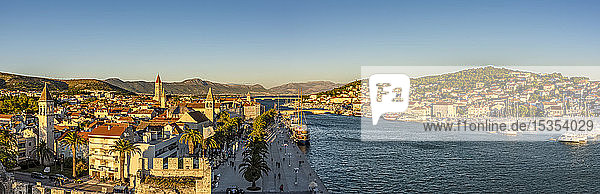 Panoramic view of the historical city of Trogir from Kamerlengo Castle; Trogir  Croatia